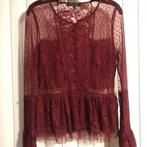 Maroon lace and peplum blouse
